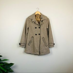 H&M wool tan plaid button trench pea coat